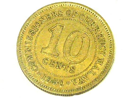 MALAYSIA COIN L1, 1950 TEN CENT COIN T1295