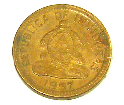 HONDURAS COIN L1, 1957 FIVE CENT COIN T1296