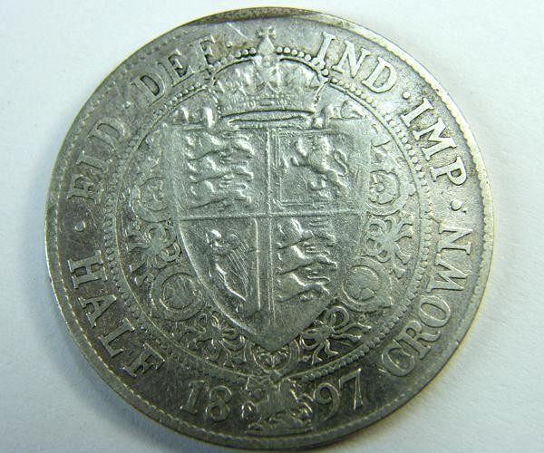 HALF CROWN SILVER COIN 1897    OP389