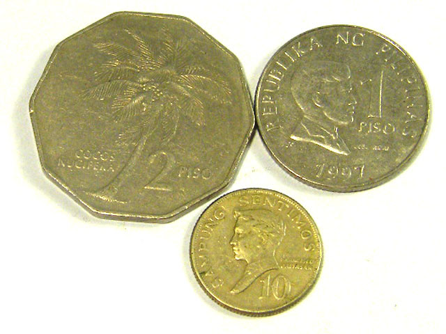 PHILIPPINES COIN L3, 1974-1993 10, 2, 1 PISO COINS T1310