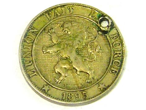 BELGIUM  COIN L1, 1895 FIVE CENT COIN T1326