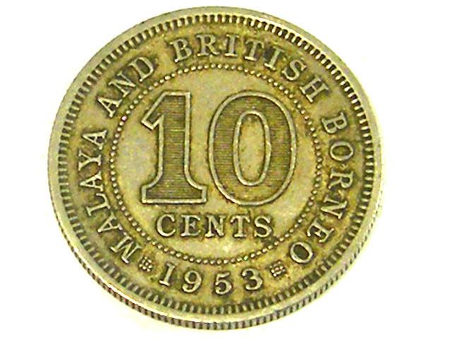 BRITISH MALAYA COIN L1, 1953 TEN CENT COIN T1315