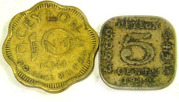 CEYLON COIN L2, 1912-1944 TEN & FIVE CENT COINS T1332