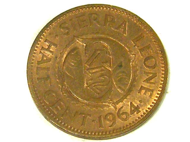 SIERRA LEONE COIN L1, 1964 HALF CENT COIN T1341