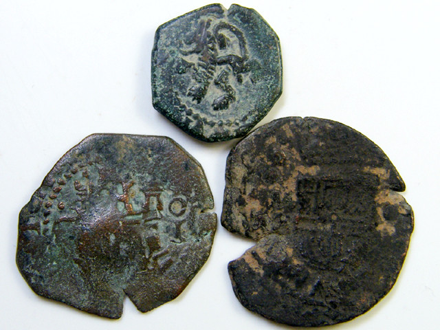 Parcel  Maravedis Cob 16-17thCent   Philip II, III, IV AC420