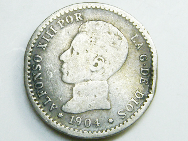 SILVER SPANISH COIN   50 C ENT  1904   CO 37