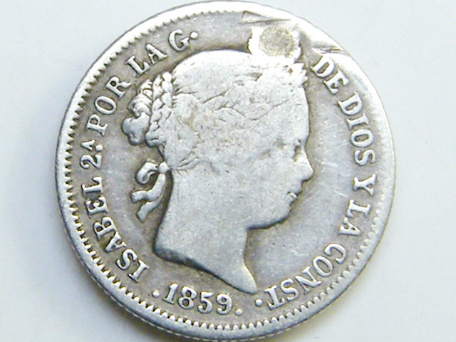 COLLECTORS  SILVER SPANISH COIN  1 RL 1859    CO 39
