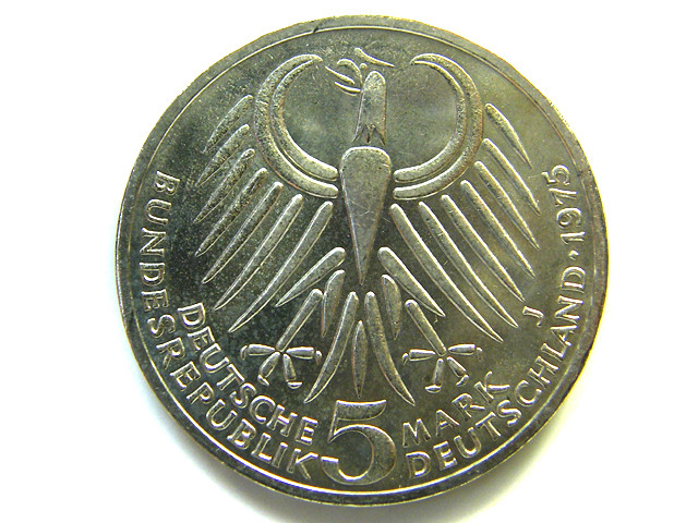 UNC  .625 SILVER GERMAN 5 MARK   COIN   1925   CO50