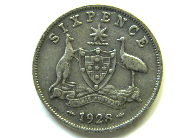 SILVER 92.5%  ONE SIXPENCE  1928   CO 62