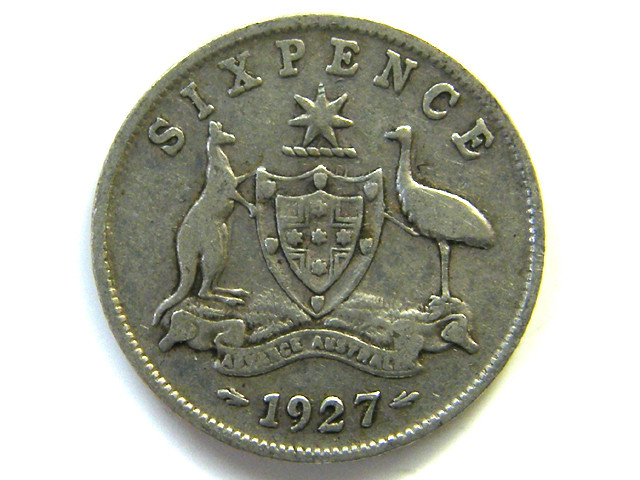 SILVER 92.5%  ONE SIXPENCE  1927 CO 64