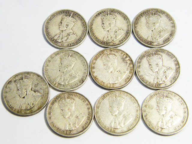 10X SILVER 92.5%  115  GRAM S SHILLING COINS   CO 70