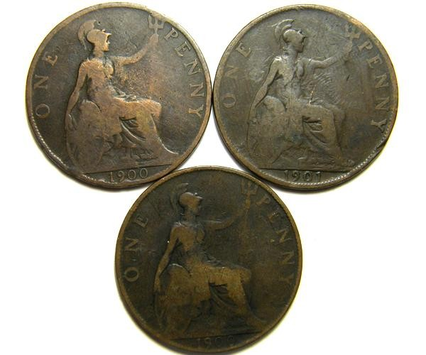 PARCEL THREE ONE PENNY COINS   OP 421