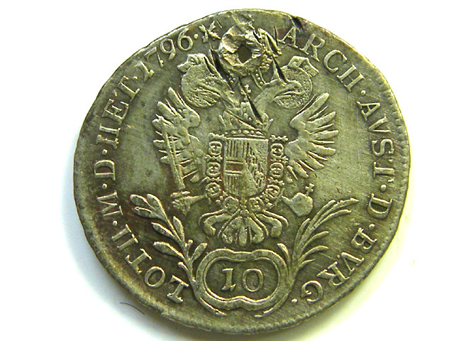 AUSTRIA -HUNGRAY 2 IMPERIAL COIN 18 C FRANC SILVER 1796 CO86