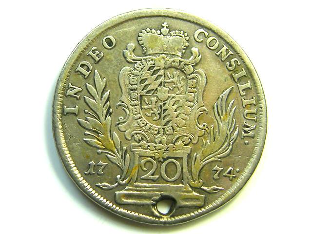 1774 AUSTRIA SILVER 20 KREUZER COIN   HOLED CO89