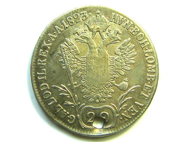 1823 AUSTRIA  IMPERATOR FRANC 20 KREUZER SILVER COIN CO90