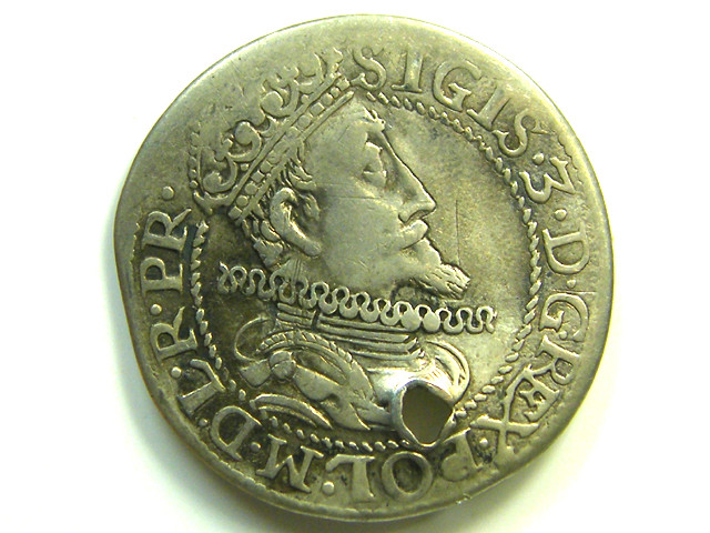 POLAND 1614 SIGISMUND 111 VASA SILVER HOLED COIN  CO91