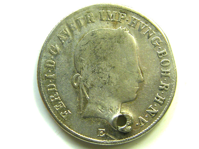 1847 FERDINAND 20 KRUZER SILVER COIN HOLED CO 101