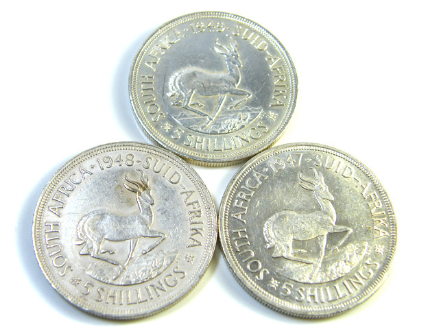 THREE UNC 5 SHILLINGS SOUTH AFRICA  SILVER COINS   CO -115