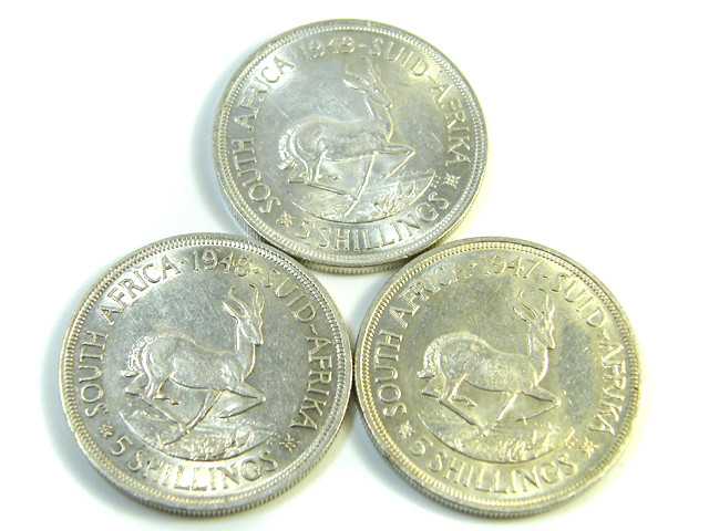 THREE UNC 5 SHILLINGS SOUTH AFRICA  SILVER COINS   CO -117
