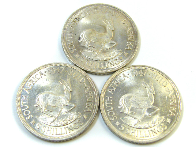 THREE UNC 5 SHILLINGS SOUTH AFRICA  SILVER COINS   CO -119
