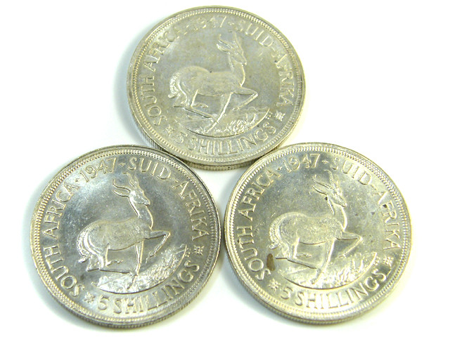 THREE UNC 5 SHILLINGS SOUTH AFRICA  SILVER COINS   CO -121