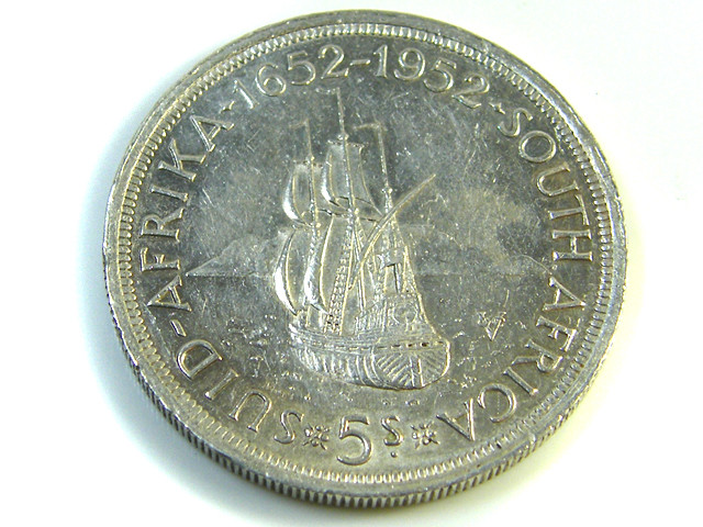 UNC 5 SHILLINGS SOUTH AFRICA  SILVER COINS 1952   CO -123