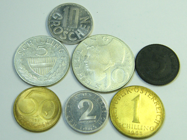 UNC SET OF 7 AUSTRIAN 1965 COINS   J 350