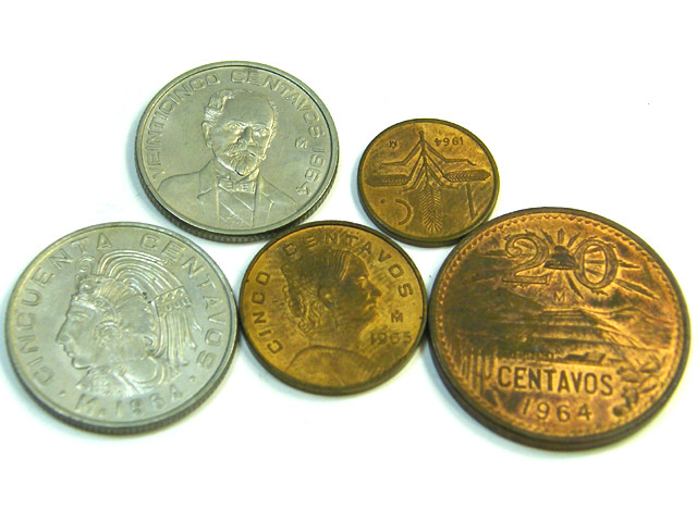 UNC SET OF 5 MEXICAN 1964 COINS J  358