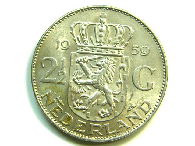 2 1/2 G HOLLAND 1959 SILVER COIN  J 393