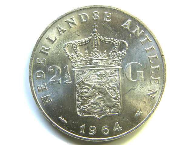 UNC DUTCH ANTILLIES 1964 2 1/1 G SILVER COIN   J 394