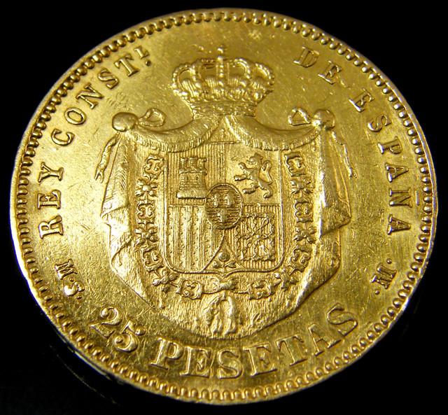 GOLD COIN SPAIN 25 PESTAS  1880    CO133