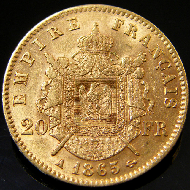 GOLD COIN FRANCE 1865 A 20 FRANCS  CO 136