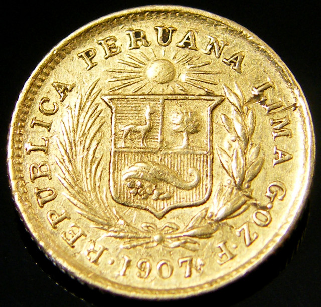 COLD COIN PERU 1/5 LIBRA 1907    CO 140