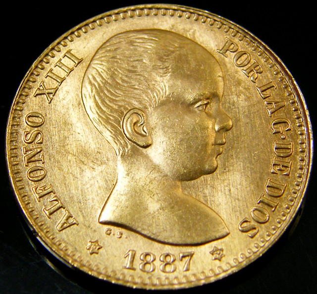 GOLD COIN SPAIN 20  PESETAS   1887    CO 143