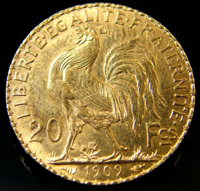 UNC FRANCE GOLD COIN ROOSTER 20 FRANCS 1909  CO 146