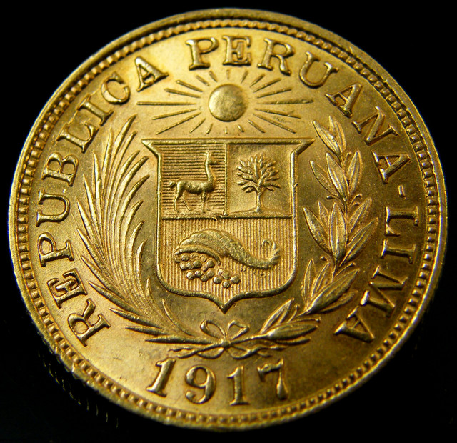 1 Libera Pound Peru Gold Coin 1917 Co152