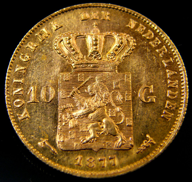 1877 DUTCH GOLD COIN NEDERLANDS 10 GUILDERS CO 153
