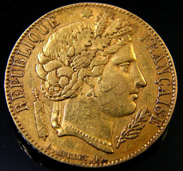 FRENCH REPUBLIC 20 FRANCS 1851 GOLD COIN    CO 161
