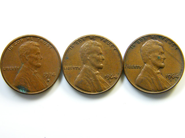 THREE ONE CENTS  1964 COINS   J 424