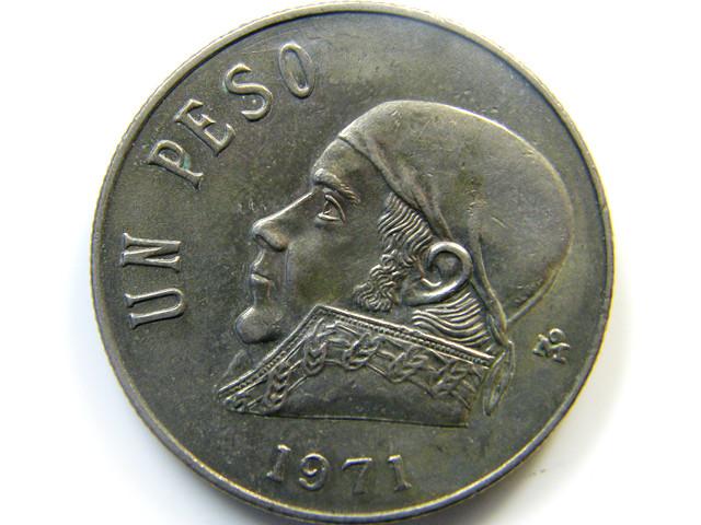 UN PESO 1971 MEXICAN COIN   J 425