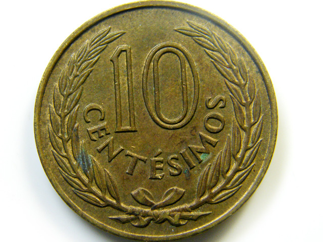 1960 URUGUAY  COIN   10 CENT J 437