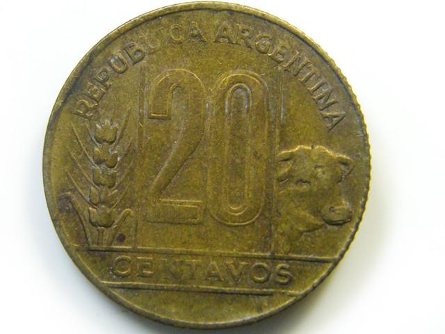 ARGENTINA 20 CENT 1949 COIN   J 441