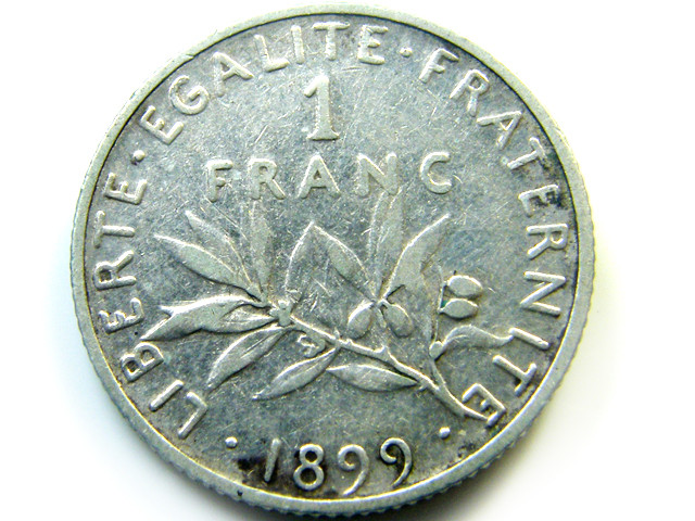 1899 1 FRANC   FRANCE  COIN   J 458