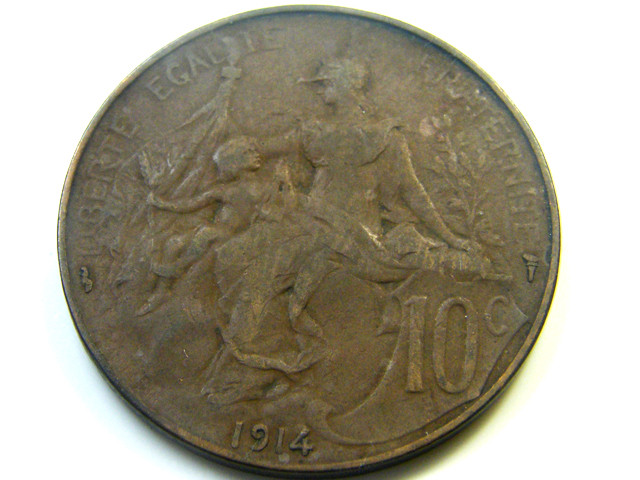 1914 19 CENTIMES FRANCE  COIN   J 467