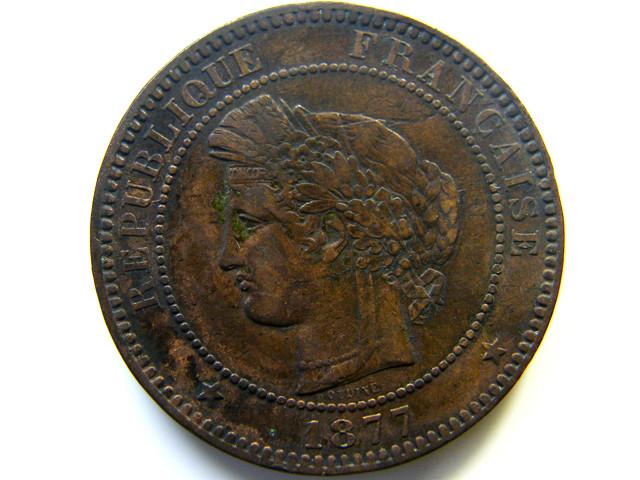 1877 10 CENTIMES FRANCE  COIN   J 468