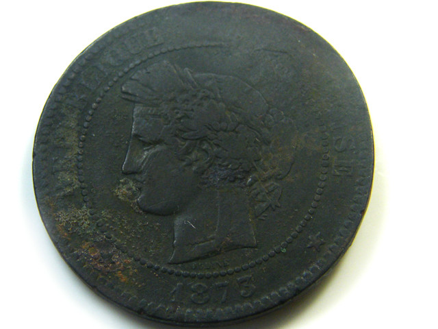 1873  10 CENTIMES  FRANCE  COIN   J 469