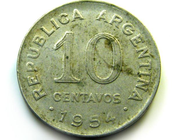 10 CENTAVOS 1954 ARGENTINA   COIN   J 488