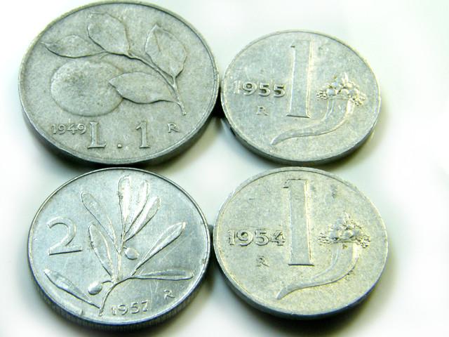 PARCEL FOUR ITALY  COINS 1949-1955    J5