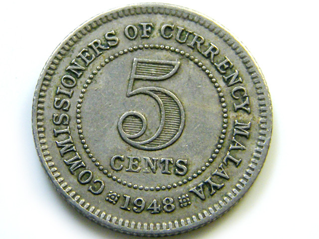 1948 5 CENTS MALAYSIA  COIN   J534