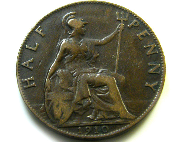 GB 1910 1/2 PENNY  COIN   J544